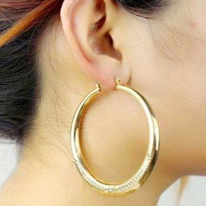 Jewelry - Gold Metal Etched Hoop Earrings